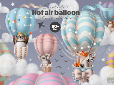 Hot air balloon clipart collection print clipart nursery drawing design animals doodle character cartoon illustration