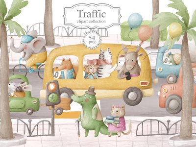 Traffic, cute clipart collection doodle character animals characters traffic jam road car transportation school bus back to school children cartoon cute animals nursery animals school kids illustration