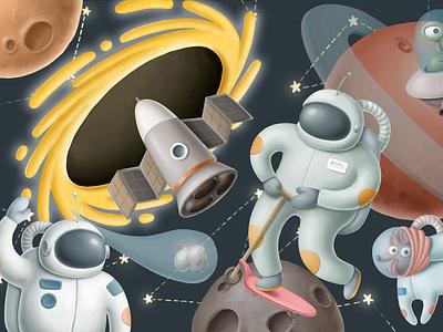 Space collection animals design cartoon ufo aliens spaceship constellations stars open space planets dog art nasa astronaut cosmos clipart illustration