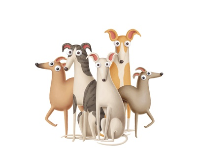 Whippet dogs design art dogs greyhound whippet animals dog character doodle illustration cartoon