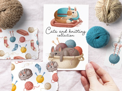 knitting illustrations animals design cats hand drawn branding logo hand crafted knitting character doodle illustration cartoon