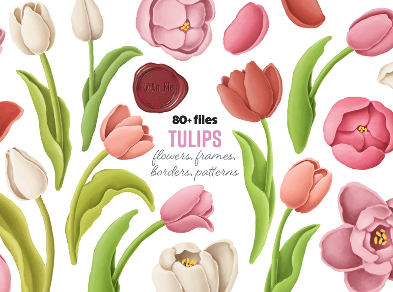 tulips flowers clipart pastel colors oil painting illustration clipart tulips wedding decor wedding floral wedding flowers spring blossom floral flowers