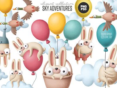 Bunny clipart collection printable nursery commercial easter flyer cartoon illustration rabbit easter bunny character cartoon easter