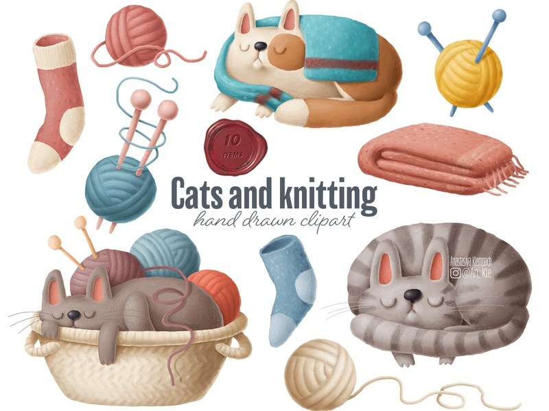 cats and knitting cat illustration yarn clipart cats clipart knitting clipart home drawing cozy illustration etsy crafting knitting clipart cats