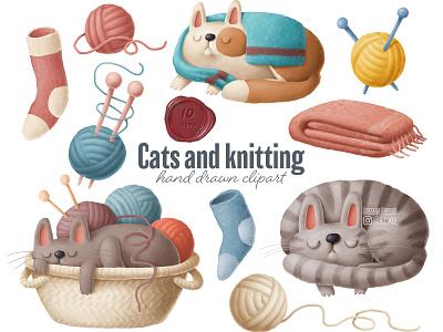 cats and knitting cat illustration yarn clipart cats clipart knitting clipart home drawing cozy illustration etsy crafting knitting clipart cats