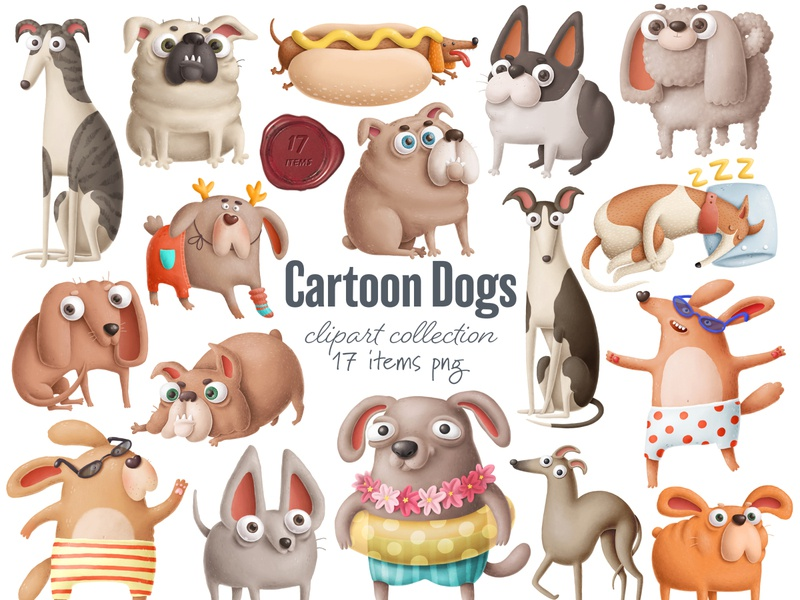 cartoon dogs clipart print art drawing design doodle dogs character design animals dog illustration character clipart dog