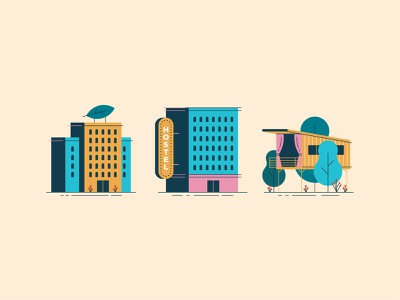 Vacation Stays travel vacation hostel hotel geometric flat illustration