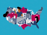 Partnerships map united states college register to vote vote character geometric texture flat illustration