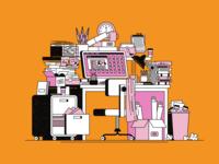 Messy Desk hoarder messy computer office desktop line art geometric texture flat illustration
