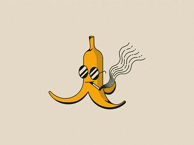 Vectober 12 - Slippery cigarette smoking sunglasses peel banana line art character vectober inktober geometric texture flat illustration