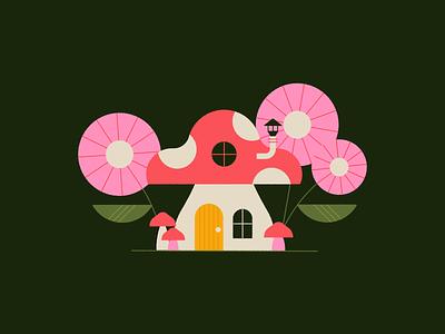 Vectober 11 - Disgusting garden cottage house flower mushroom vectober inktober flat geometric texture illustration
