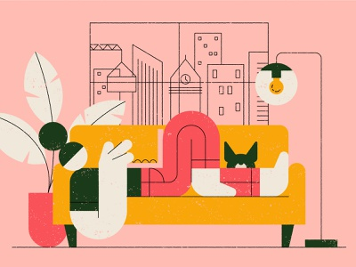 Workspace workspace couch dog freelance office computer plant character geometric texture flat illustration