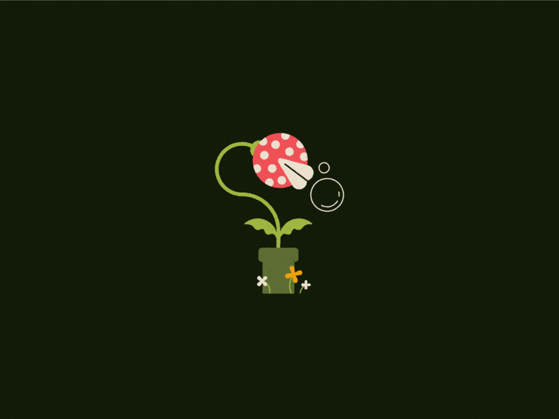 Vectober 18 - Trap sleep plant videogame n64 piranha plant venus fly trap inktober geometric texture flat illustration