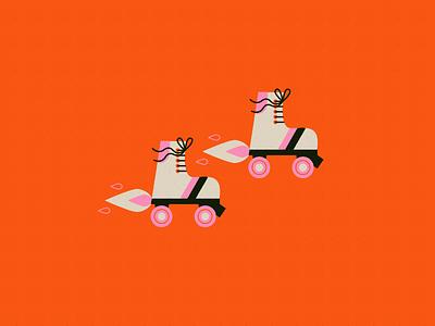 Vectober 16 - Rocket fire rollerskate skates rocket vectober inktober texture flat illustration