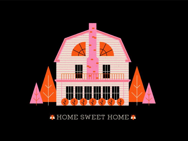 Vectober 30 - Ominous amityville horror halloween horror haunted house geometric inktober texture flat illustration