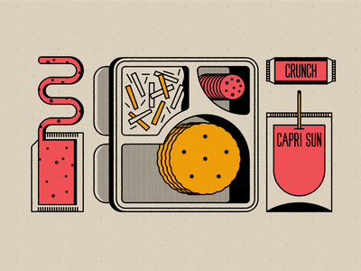 Vectober 22 - Chef gourmet chef lunch 90s pizza lunchable line art vectober geometric inktober texture flat illustration