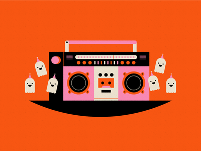 Vectober 27 - Music halloween spooky celebrate dance party dance boombox ghost vectober inktober geometric flat texture illustration
