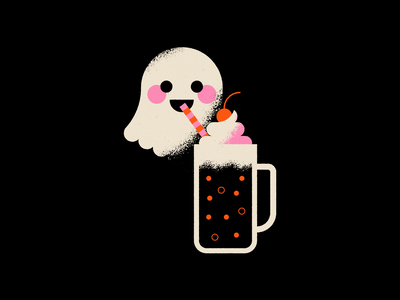 Vectober 28 - Float halloween spooky float rootbeer dessert ghost vectober geometric inktober texture flat illustration