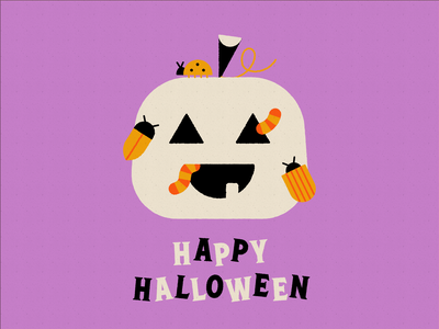 Vectober 31 - Crawl bug worm crawl halloween pumpkin vectober geometric inktober texture flat illustration