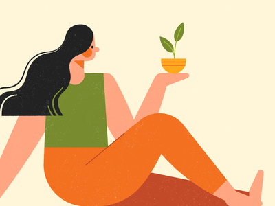 Curvature Tool sitting plant character flat texture illustration