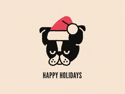 Happy Holidays character line art santa happy holidays boston terrier dog texture flat illustration