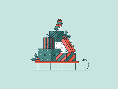 Holiday Email Promotions email campaign christmas winter holidays mail snowman presents sled line art flat illustration