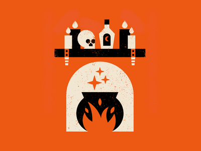 Vectober 14: Mantle spooky halloween candle skull magic spell witch mantle fireplace vectober illustration