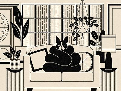 Vectober 15: Toast(y) interior plants houseplants living room rain winter boston terrier dog illustration