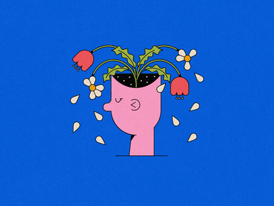 Vectober 22: Empty plant mental health flowers head empty illustration