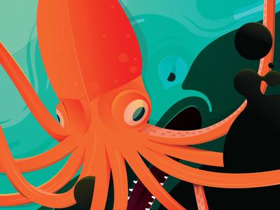 Deep Sea whale octopus deep sea ocean illustration