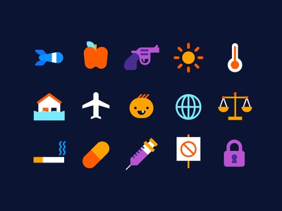 Icon set lock protest drugs smoking baby airplane flood sun gun missile apple icon