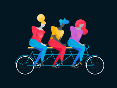 The Team team work bike tandem illustration team