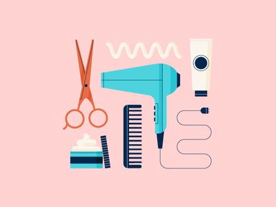 Hair Products pastels salon hair scissors illustration