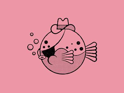 Vectober 10/01 - Poisonous illustration texture line art pink cowboy evil puffer fish venom inktober vectober