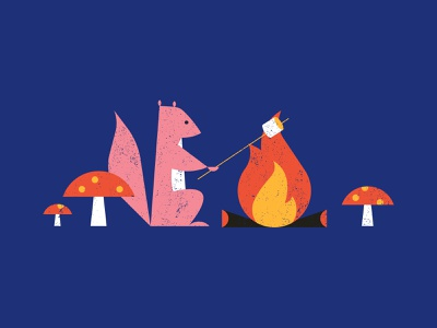 Vectober 10/03 - Roasted smores mashmallow camping mushroom campfire squirrel vectober inktober2018 inktober