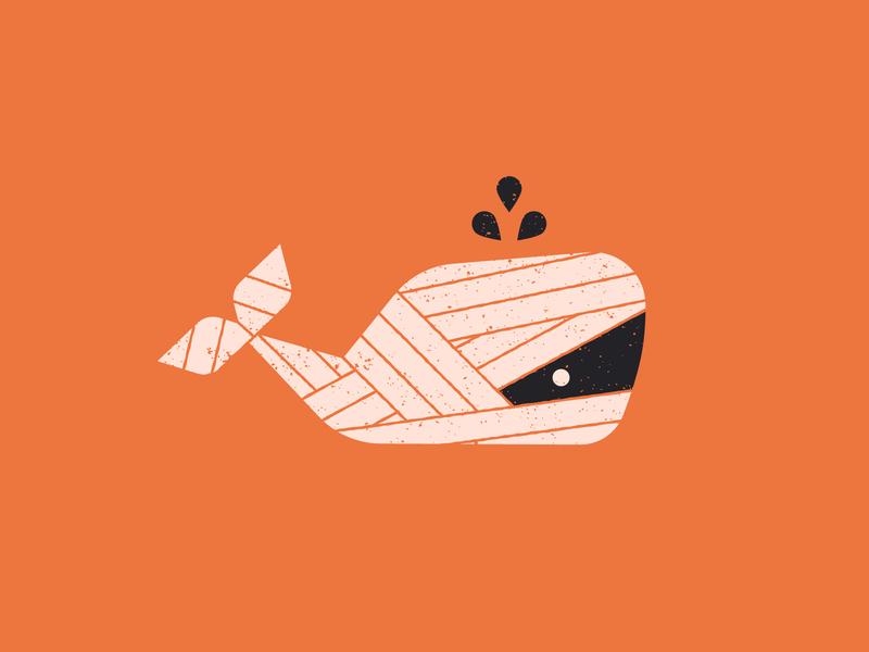 Vectober 10/12 - Whale illustration orange costume halloween mummy whale vectober2018 vectober inktober2018 inktober