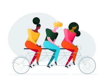 Tandem teamwork bicylce tandem tandem bike flat character illustration