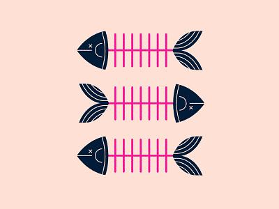 Fish skeleton dead fish geometric illustration