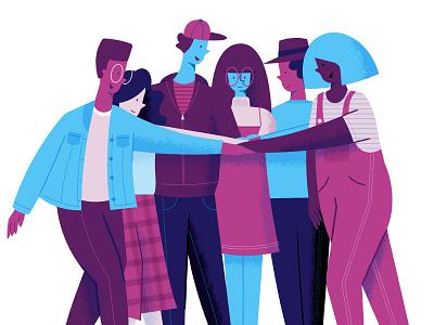 Team Huddle teamwork huddle team flat character illustration illustrator