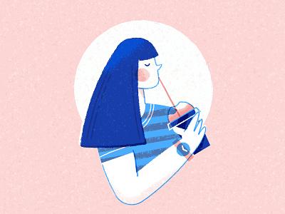 Vectober 04 - Freeze vectober2019 inktober2019 girl frozen freeze slurpee texture flat inktober character vectober illustration
