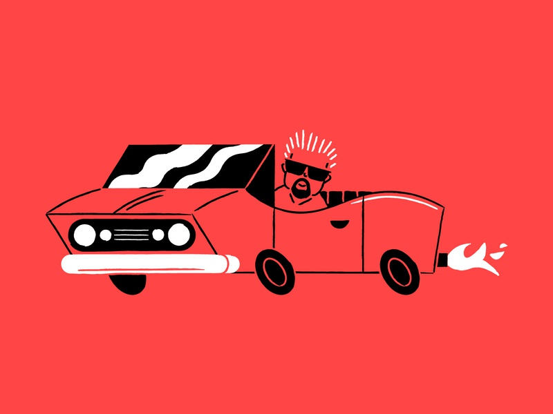 Vectober 16 - Wild lineart fast convertible car guy fieri vectober2019 inktober2019 vectober inktober illustration
