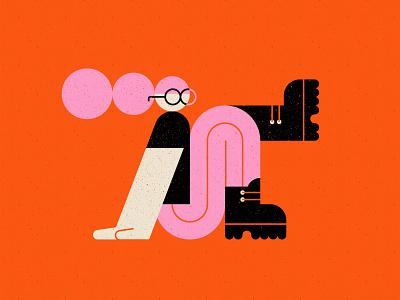 Vectober - 20 - Tread glasses boots character geometric inktober vectober texture flat illustration