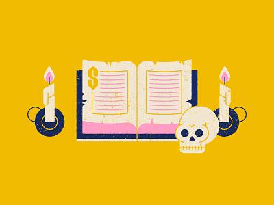 Vectober 23 - Ancient candle skull ancient spellbook halloween geometric texture inktober vectober flat illustration