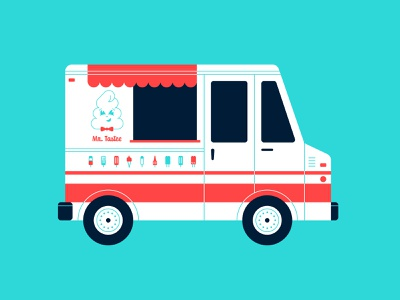 Vectober 25 - Tasty food truck ice cream truck mr. tastee ice cream geometric inktober vectober flat illustration