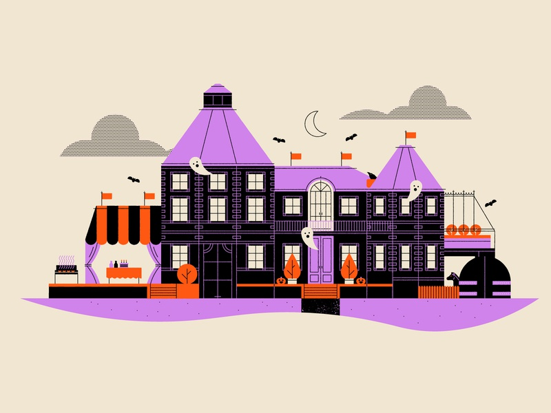 Vectober 26 - Dark house mansion polly pocket halloween geometric inktober vectober flat illustration