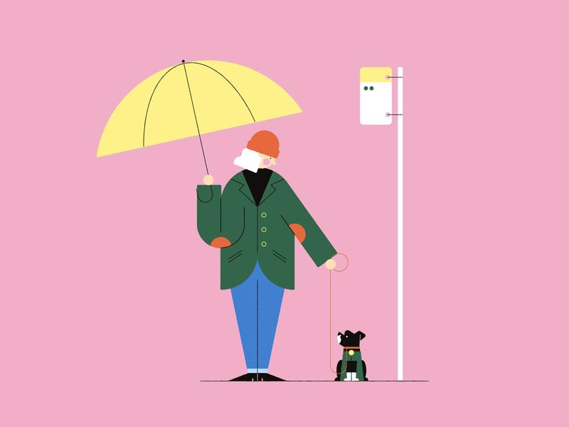 Vectober 27 - Coat inktober vectober rain umbrella coat bus stop dog texture flat illustration