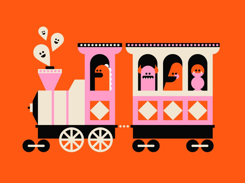 Vectober 28 - Ride monster halloween ghost trains geometric inktober vectober flat illustration