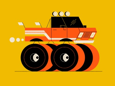 Vectober 29 - Injured halloween candy corn monster truck geometric inktober vectober flat illustration