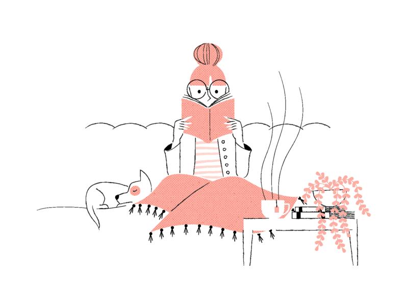 Winter Reads relax dog tea woman cozy reading line art texture flat illustration