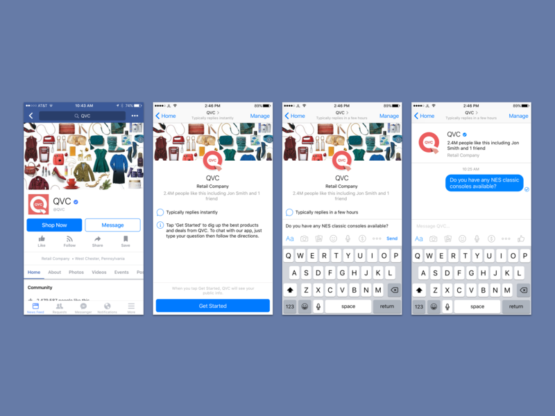 UX/UI Design for QVC's FB Messenger Chatbot iOS App (iPhone